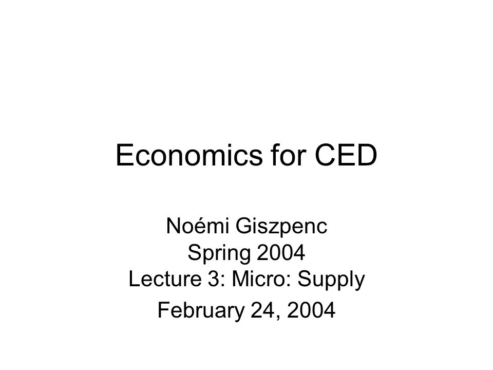 Economics for CED Noémi Giszpenc Spring 2004 Lecture 3: Micro: Supply February 24, 2004