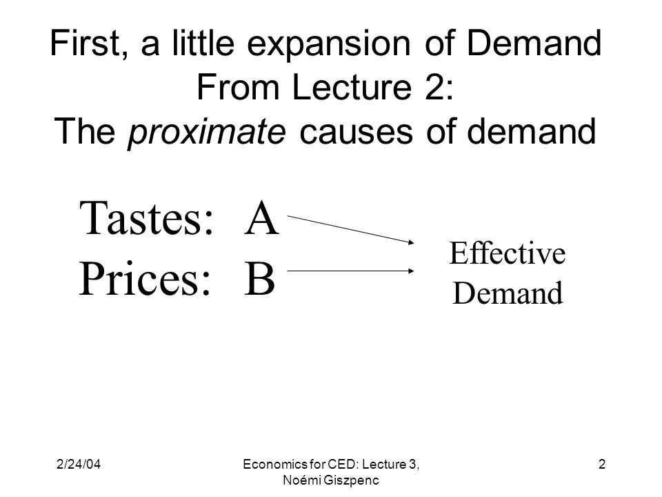 2/24/04Economics for CED: Lecture 3, Noémi Giszpenc 2 First, a little expansion of Demand From Lecture 2: The proximate causes of demand A B Tastes: Prices: Effective Demand