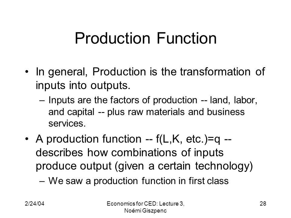 2/24/04Economics for CED: Lecture 3, Noémi Giszpenc 28 Production Function In general, Production is the transformation of inputs into outputs.