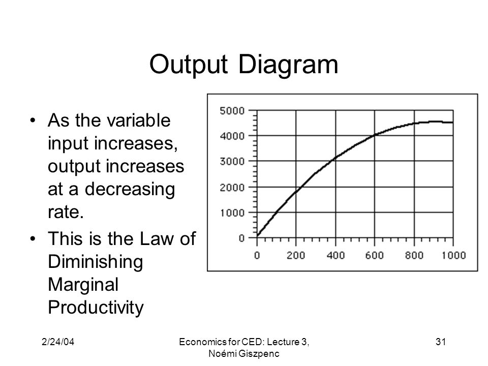 2/24/04Economics for CED: Lecture 3, Noémi Giszpenc 31 Output Diagram As the variable input increases, output increases at a decreasing rate.