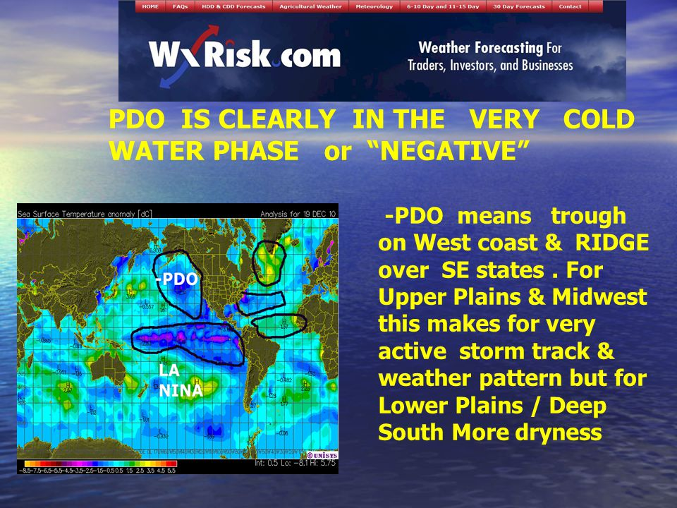 PDO IS CLEARLY IN THE VERY COLD WATER PHASE or NEGATIVE -PDO means trough on West coast & RIDGE over SE states.