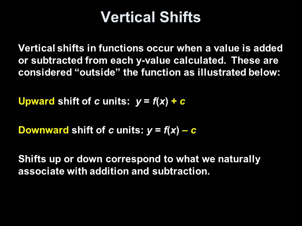 Vertical Shifts Vertical shifts in functions occur when a value is added or subtracted from each y-value calculated.