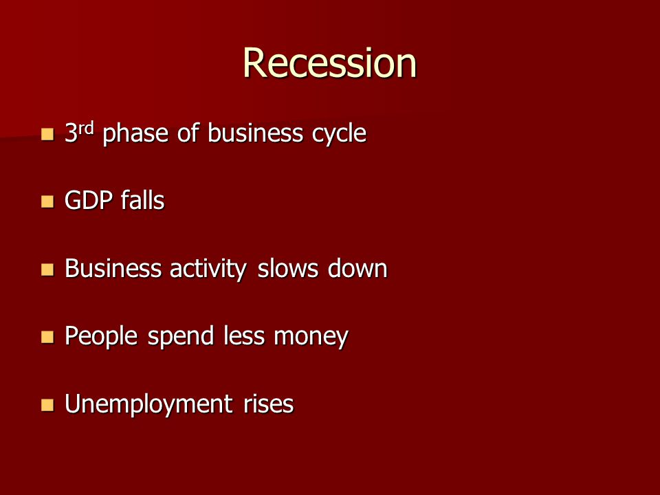 Recession 3 rd phase of business cycle 3 rd phase of business cycle GDP falls GDP falls Business activity slows down Business activity slows down People spend less money People spend less money Unemployment rises Unemployment rises