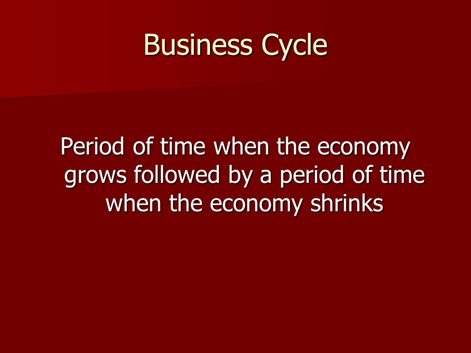 Business Cycle Period of time when the economy grows followed by a period of time when the economy shrinks