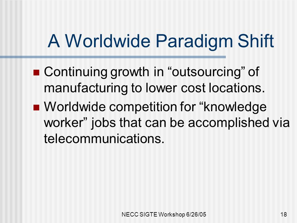 NECC SIGTE Workshop 6/26/0518 A Worldwide Paradigm Shift Continuing growth in outsourcing of manufacturing to lower cost locations.
