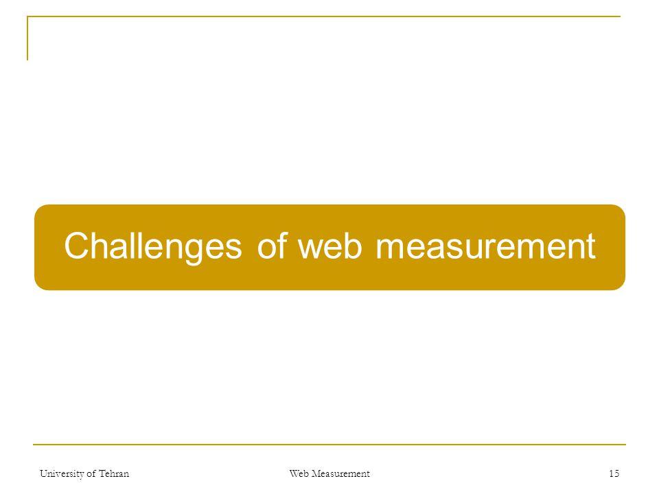 Challenges of web measurement University of Tehran Web Measurement 15