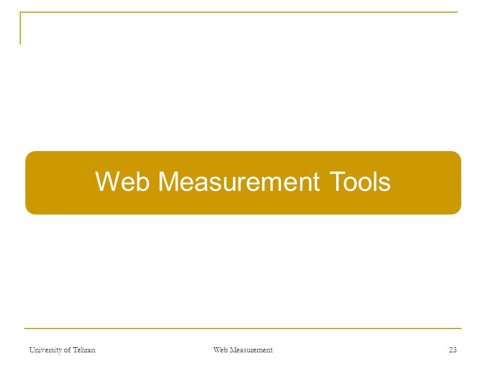 Web Measurement Tools University of Tehran Web Measurement 23