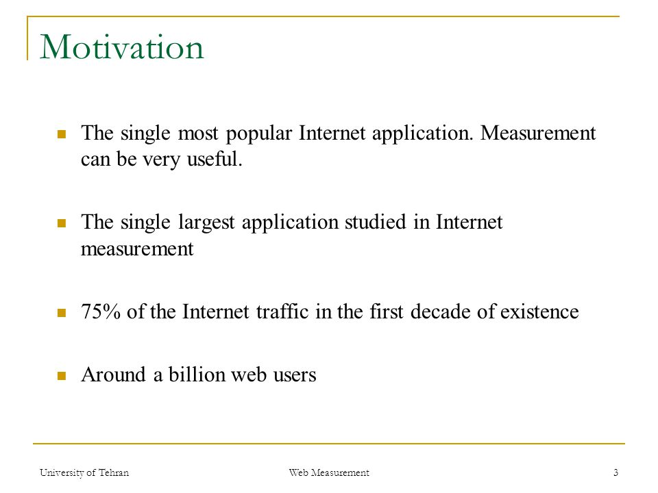 Motivation The single most popular Internet application.