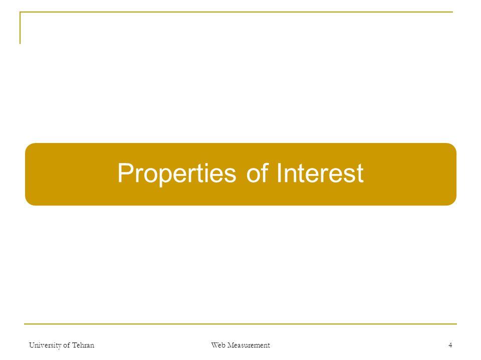 Properties of Interest University of Tehran Web Measurement 4