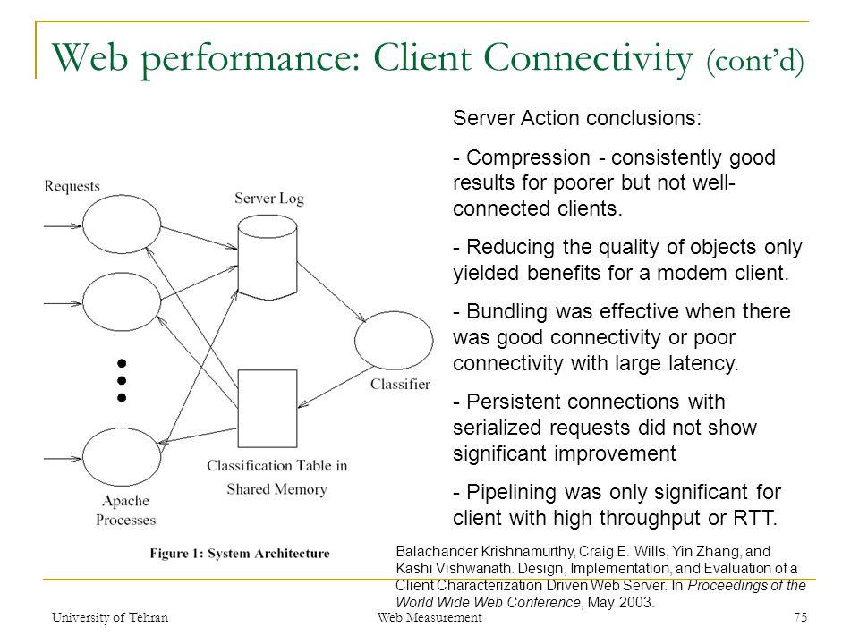 Web performance: Client Connectivity (cont'd) 75 Balachander Krishnamurthy, Craig E. Wills, Yin Zhang, and Kashi Vishwanath. Design, Implementation, a
