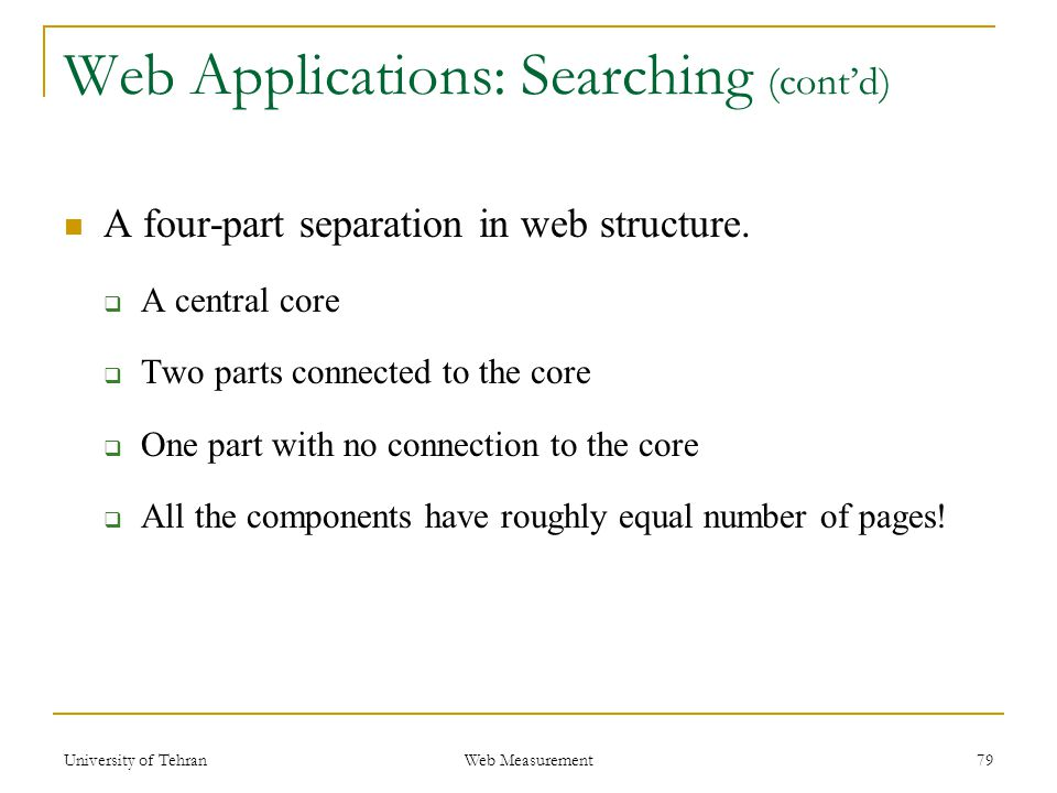 Web Applications: Searching (cont'd) A four-part separation in web structure.