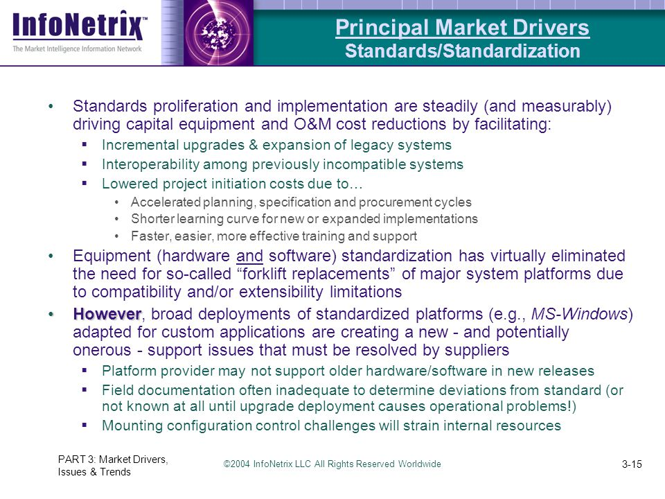 ©2004 InfoNetrix LLC All Rights Reserved Worldwide PART 3: Market Drivers, Issues & Trends 3-15 Standards proliferation and implementation are steadil