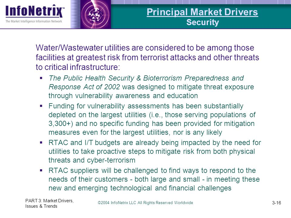©2004 InfoNetrix LLC All Rights Reserved Worldwide PART 3: Market Drivers, Issues & Trends 3-16 Water/Wastewater utilities are considered to be among