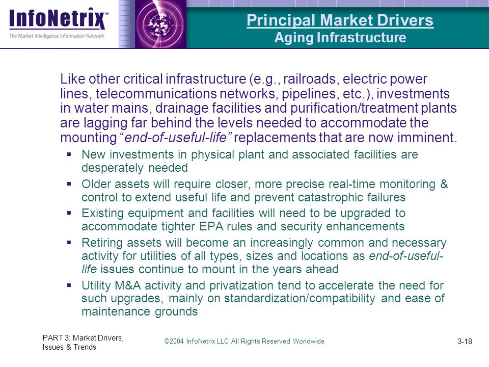 ©2004 InfoNetrix LLC All Rights Reserved Worldwide PART 3: Market Drivers, Issues & Trends 3-18 Like other critical infrastructure (e.g., railroads, electric power lines, telecommunications networks, pipelines, etc.), investments in water mains, drainage facilities and purification/treatment plants are lagging far behind the levels needed to accommodate the mounting end-of-useful-life replacements that are now imminent.