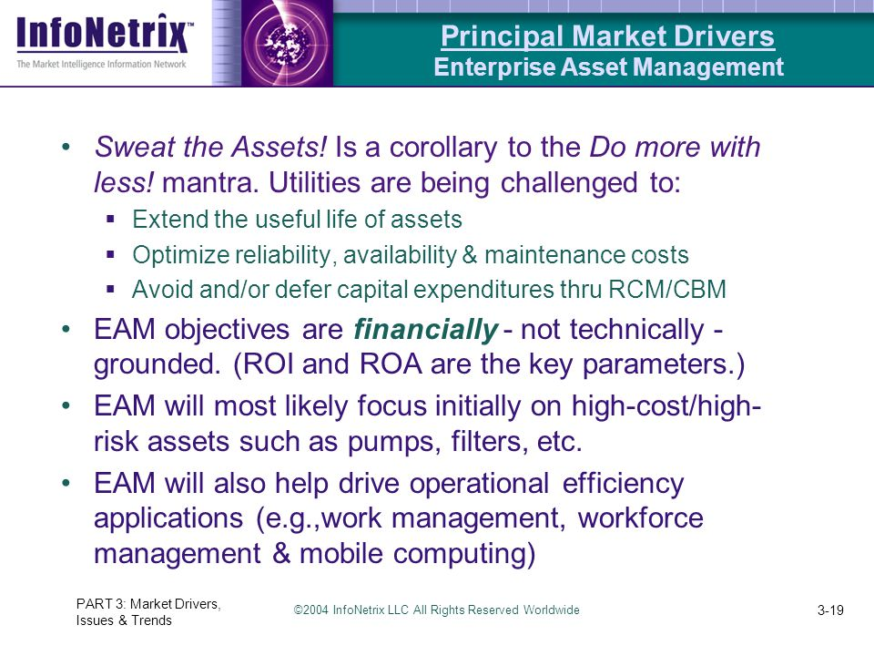 ©2004 InfoNetrix LLC All Rights Reserved Worldwide PART 3: Market Drivers, Issues & Trends 3-19 Sweat the Assets! Is a corollary to the Do more with l