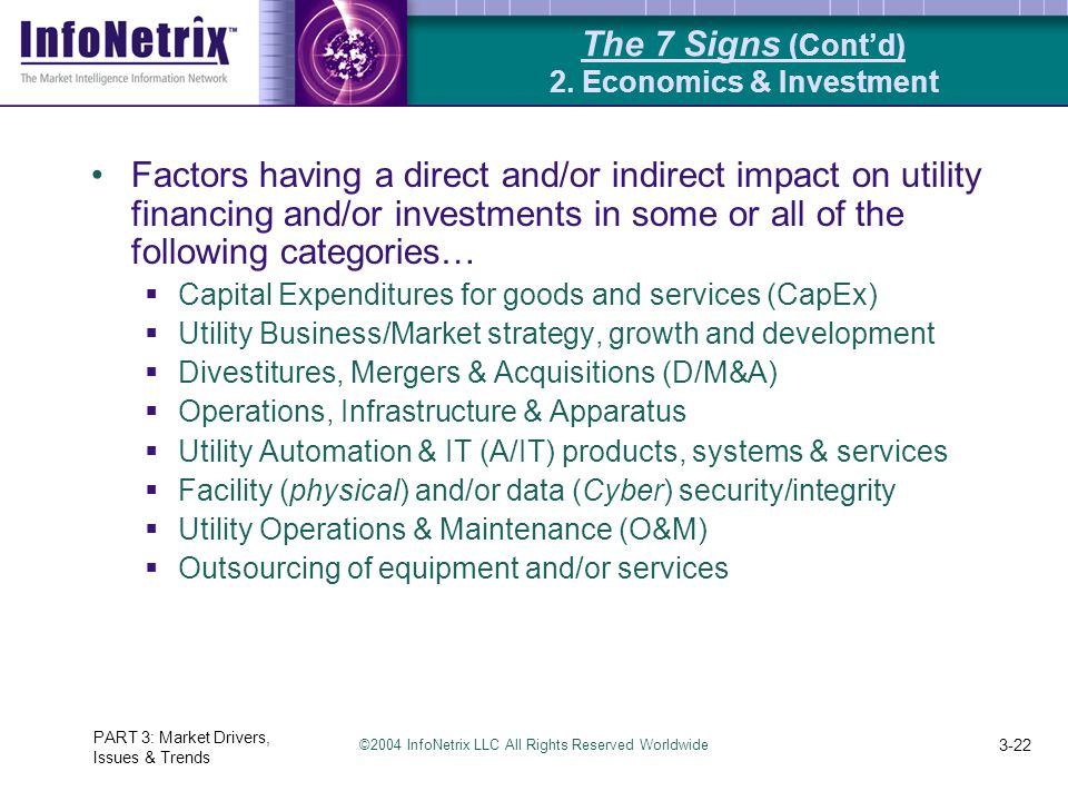 ©2004 InfoNetrix LLC All Rights Reserved Worldwide PART 3: Market Drivers, Issues & Trends 3-22 The 7 Signs (Cont'd) 2. Economics & Investment Factors