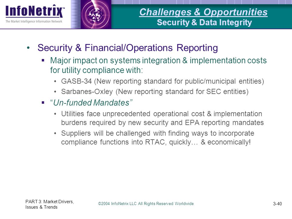 ©2004 InfoNetrix LLC All Rights Reserved Worldwide PART 3: Market Drivers, Issues & Trends 3-40 Security & Financial/Operations Reporting  Major impact on systems integration & implementation costs for utility compliance with: GASB-34 (New reporting standard for public/municipal entities) Sarbanes-Oxley (New reporting standard for SEC entities)  Un-funded Mandates Utilities face unprecedented operational cost & implementation burdens required by new security and EPA reporting mandates Suppliers will be challenged with finding ways to incorporate compliance functions into RTAC, quickly… & economically.