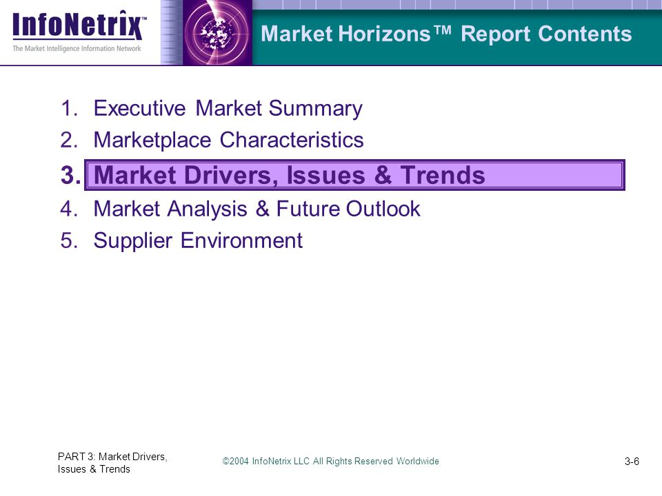 ©2004 InfoNetrix LLC All Rights Reserved Worldwide PART 3: Market Drivers, Issues & Trends 3-6 Market Horizons™ Report Contents 1.Executive Market Summary 2.Marketplace Characteristics 3.Market Drivers, Issues & Trends 4.Market Analysis & Future Outlook 5.Supplier Environment