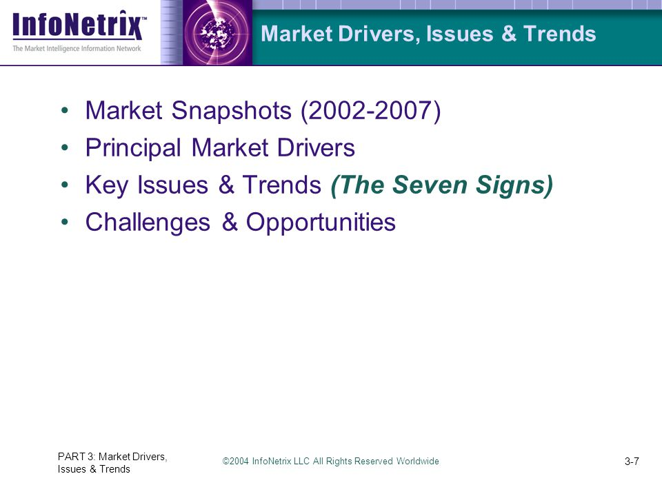 ©2004 InfoNetrix LLC All Rights Reserved Worldwide PART 3: Market Drivers, Issues & Trends 3-7 Market Drivers, Issues & Trends Market Snapshots (2002-