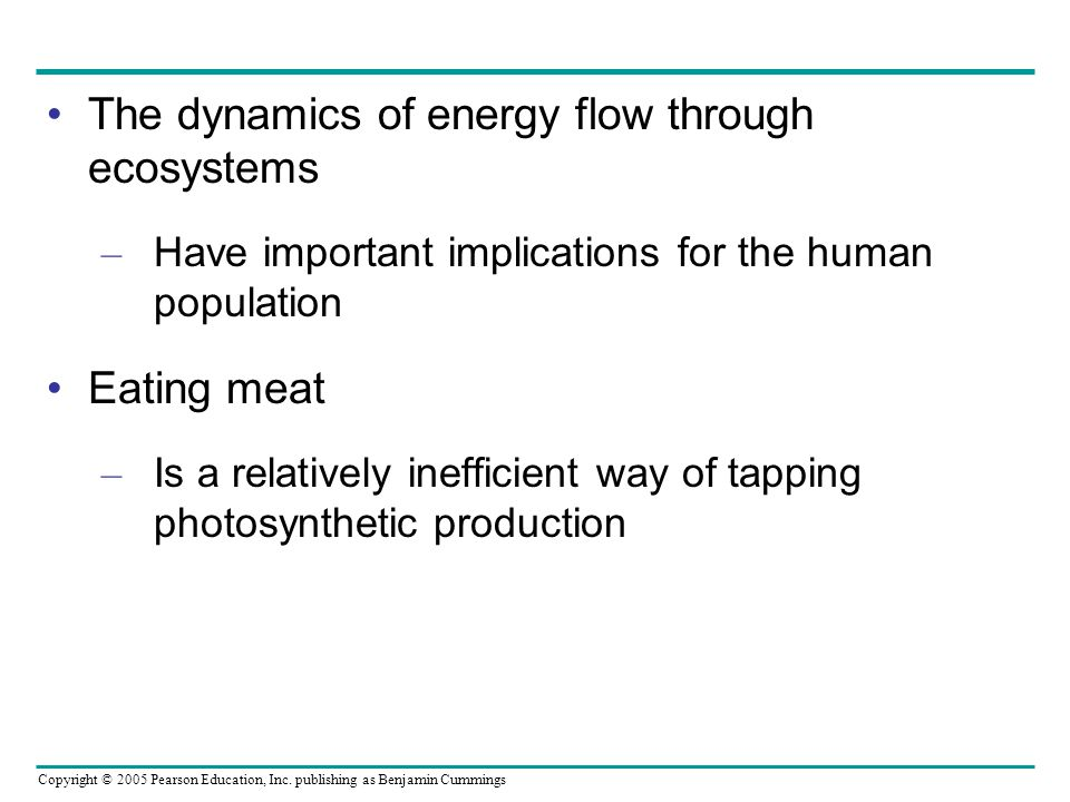 Copyright © 2005 Pearson Education, Inc. publishing as Benjamin Cummings The dynamics of energy flow through ecosystems – Have important implications