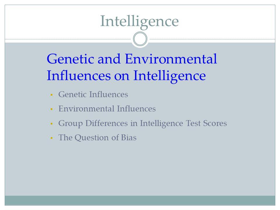 Intelligence Genetic and Environmental Influences on Intelligence  Genetic Influences  Environmental Influences  Group Differences in Intelligence