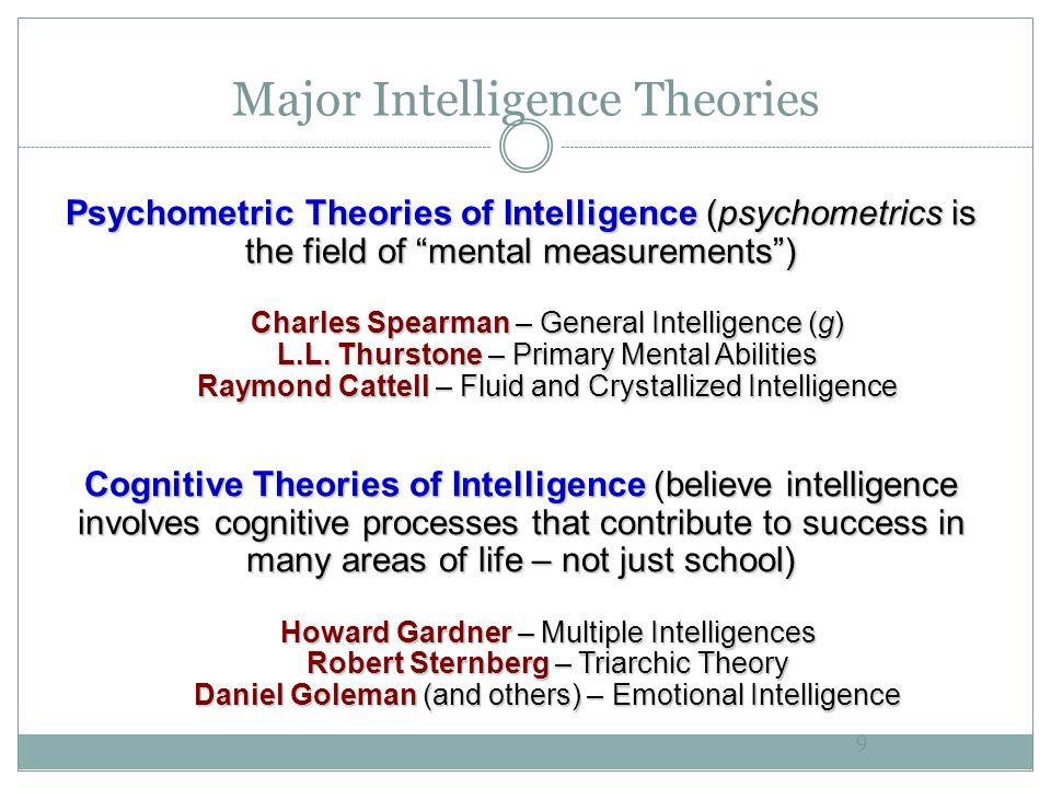 "Major Intelligence Theories 9 Psychometric Theories of Intelligence (psychometrics is the field of ""mental measurements"") Charles Spearman – General I"