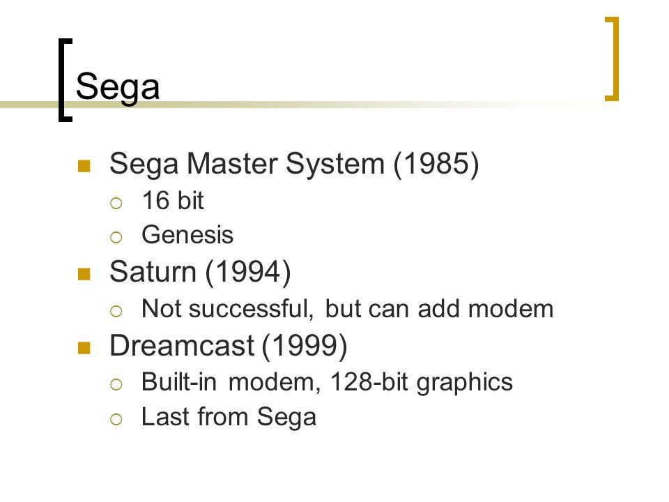 Sega Sega Master System (1985)  16 bit  Genesis Saturn (1994)  Not successful, but can add modem Dreamcast (1999)  Built-in modem, 128-bit graphics  Last from Sega