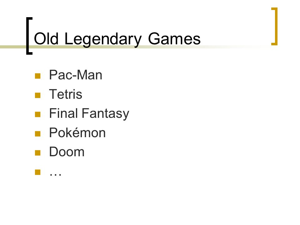 Old Legendary Games Pac-Man Tetris Final Fantasy Pokémon Doom …