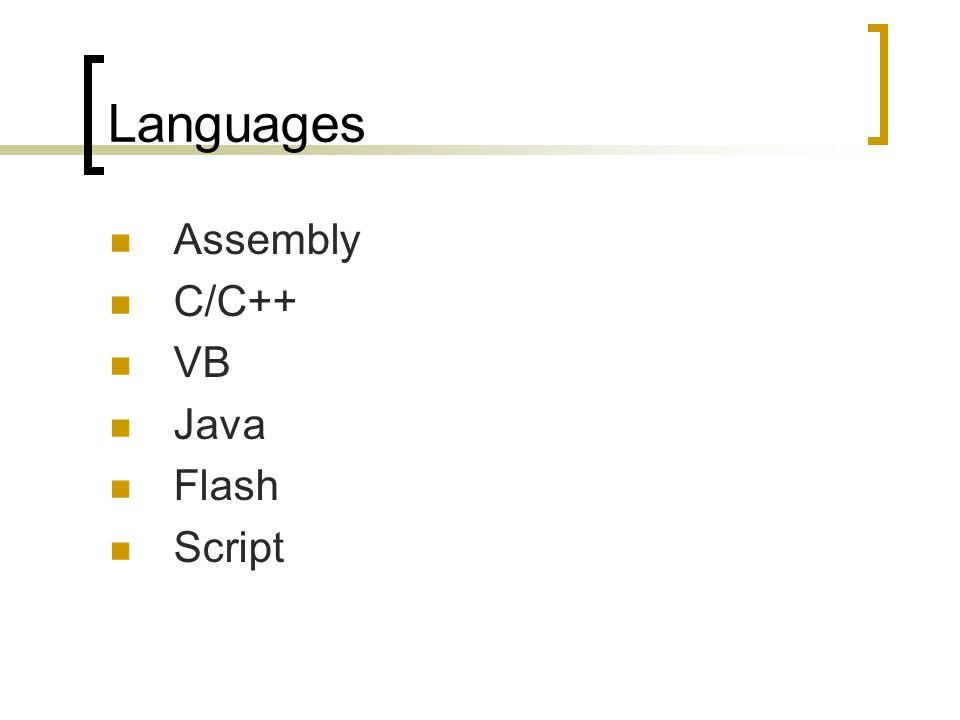 Languages Assembly C/C++ VB Java Flash Script