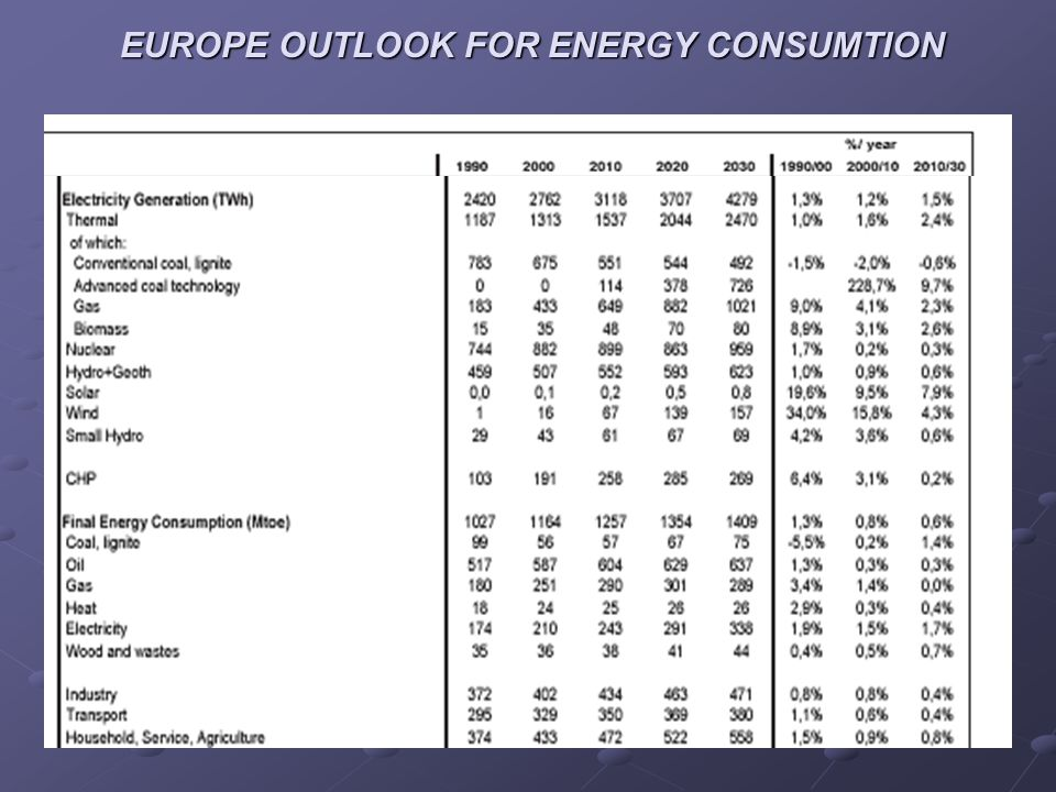 EUROPE OUTLOOK FOR ENERGY CONSUMTION