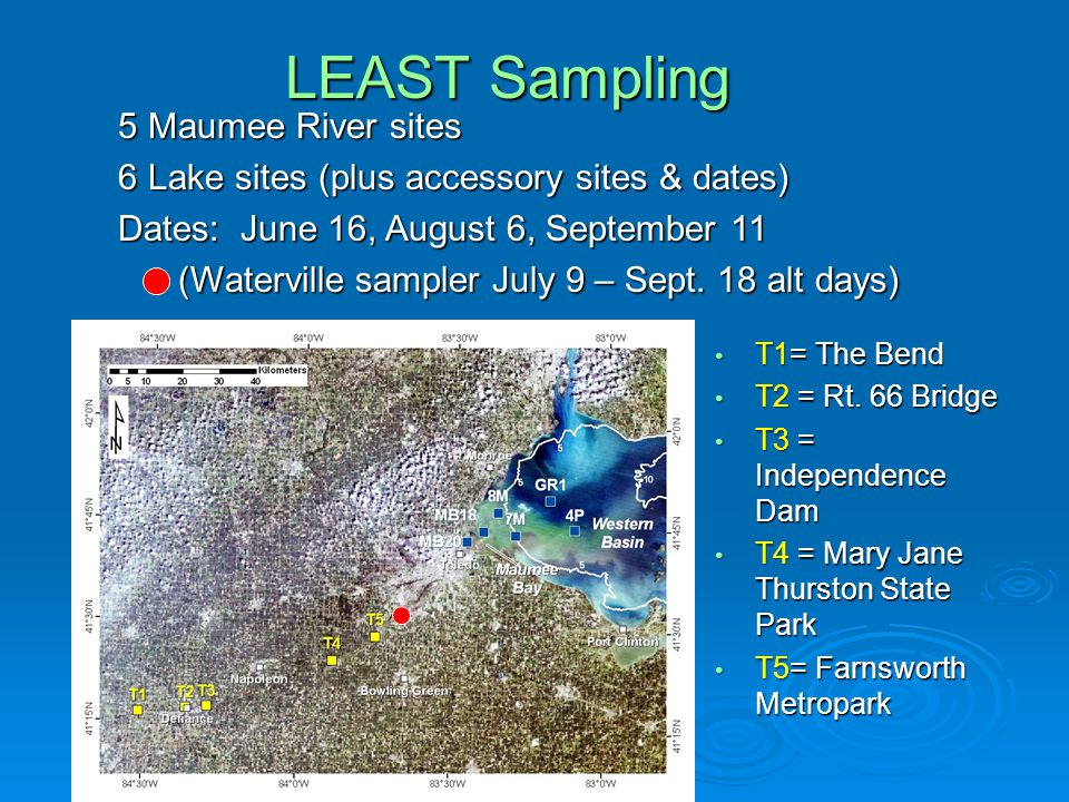 LEAST Sampling 5 Maumee River sites 6 Lake sites (plus accessory sites & dates) Dates: June 16, August 6, September 11 (Waterville sampler July 9 – Sept.