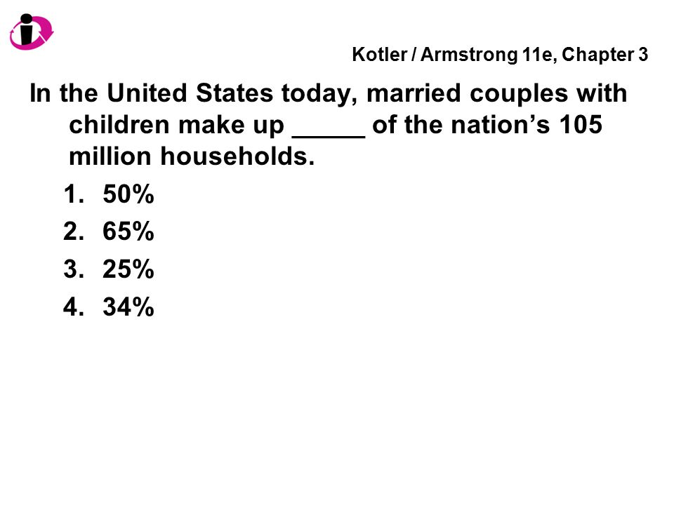 Kotler / Armstrong 11e, Chapter 3 In the United States today, married couples with children make up _____ of the nation's 105 million households. 1.50