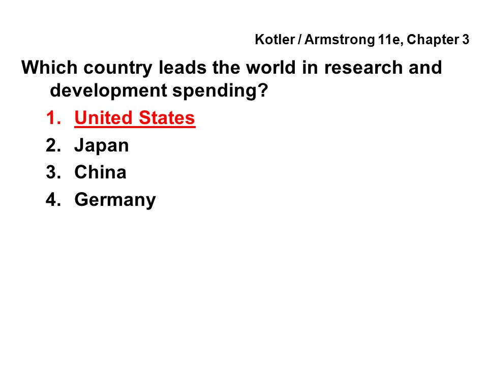 Kotler / Armstrong 11e, Chapter 3 Which country leads the world in research and development spending? 1.United States 2.Japan 3.China 4.Germany