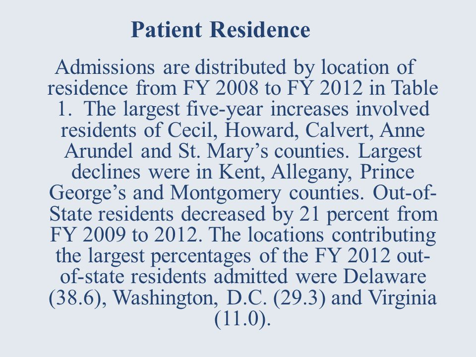 Admissions are distributed by location of residence from FY 2008 to FY 2012 in Table 1.