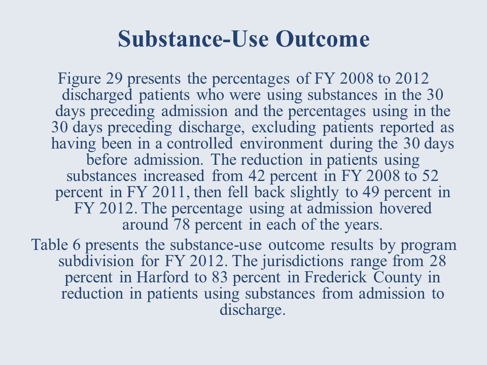 Substance-Use Outcome Figure 29 presents the percentages of FY 2008 to 2012 discharged patients who were using substances in the 30 days preceding admission and the percentages using in the 30 days preceding discharge, excluding patients reported as having been in a controlled environment during the 30 days before admission.
