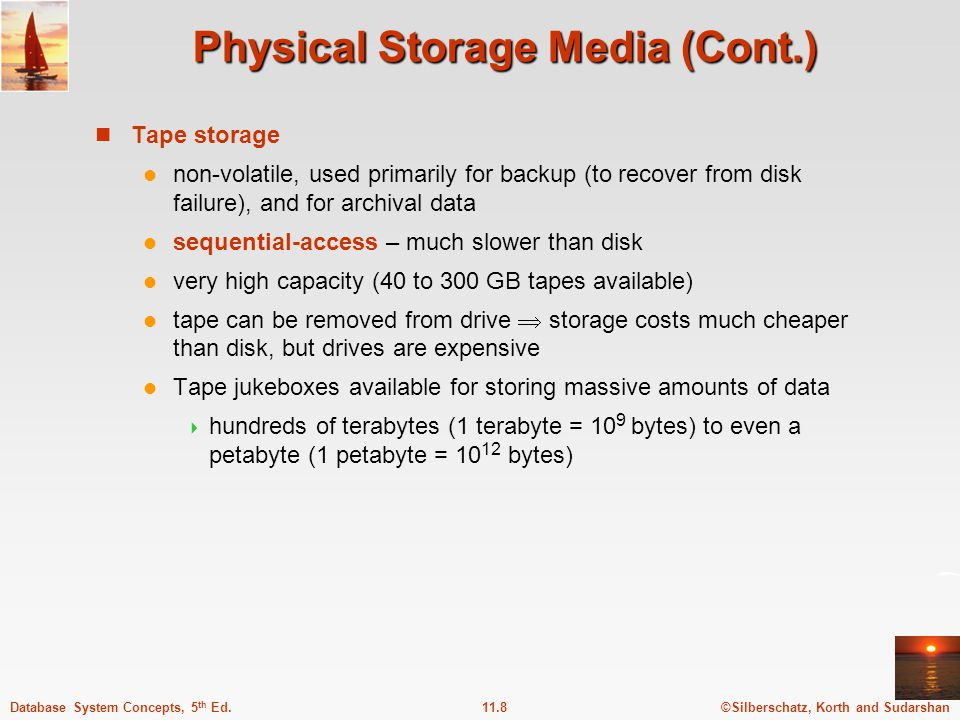 ©Silberschatz, Korth and Sudarshan11.9Database System Concepts, 5 th Ed. Storage Hierarchy