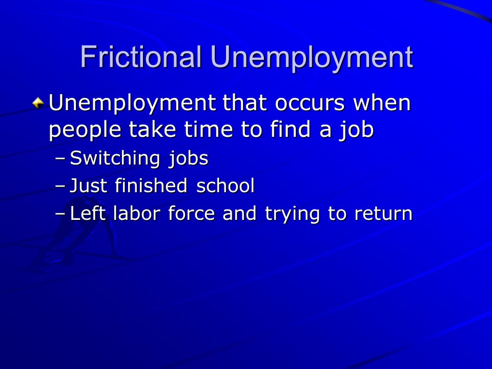 Frictional Unemployment Unemployment that occurs when people take time to find a job –Switching jobs –Just finished school –Left labor force and tryin