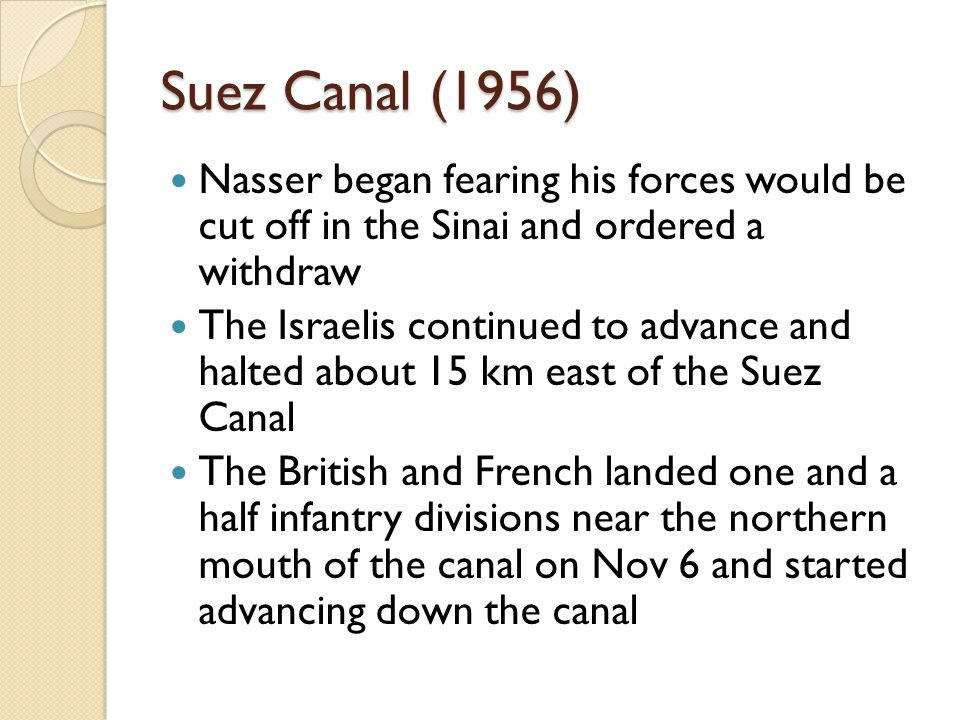Suez Canal (1956) Nasser began fearing his forces would be cut off in the Sinai and ordered a withdraw The Israelis continued to advance and halted ab