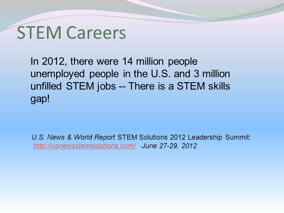 STEM Careers In 2012, there were 14 million people unemployed people in the U.S.