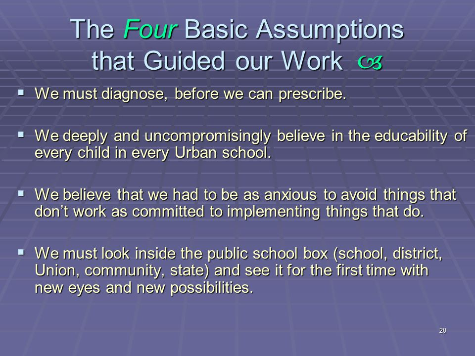 20 The Four Basic Assumptions that Guided our Work   We must diagnose, before we can prescribe.