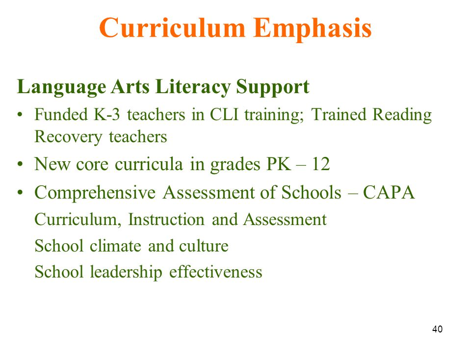 40 Curriculum Emphasis Language Arts Literacy Support Funded K-3 teachers in CLI training; Trained Reading Recovery teachers New core curricula in grades PK – 12 Comprehensive Assessment of Schools – CAPA Curriculum, Instruction and Assessment School climate and culture School leadership effectiveness