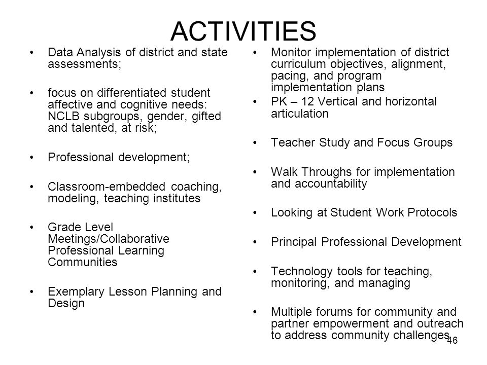 46 ACTIVITIES Data Analysis of district and state assessments; focus on differentiated student affective and cognitive needs: NCLB subgroups, gender, gifted and talented, at risk; Professional development; Classroom-embedded coaching, modeling, teaching institutes Grade Level Meetings/Collaborative Professional Learning Communities Exemplary Lesson Planning and Design Monitor implementation of district curriculum objectives, alignment, pacing, and program implementation plans PK – 12 Vertical and horizontal articulation Teacher Study and Focus Groups Walk Throughs for implementation and accountability Looking at Student Work Protocols Principal Professional Development Technology tools for teaching, monitoring, and managing Multiple forums for community and partner empowerment and outreach to address community challenges