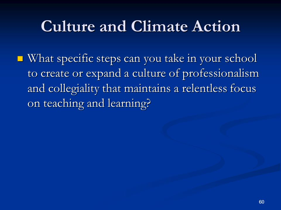 60 Culture and Climate Action What specific steps can you take in your school to create or expand a culture of professionalism and collegiality that maintains a relentless focus on teaching and learning.