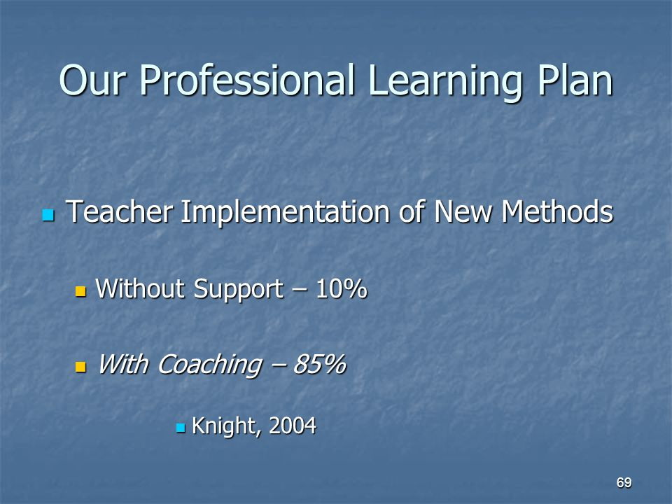 69 Our Professional Learning Plan Teacher Implementation of New Methods Teacher Implementation of New Methods Without Support – 10% Without Support – 10% With Coaching – 85% With Coaching – 85% Knight, 2004 Knight, 2004