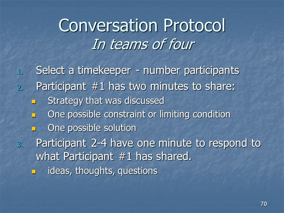 70 Conversation Protocol In teams of four 1. Select a timekeeper - number participants 2.