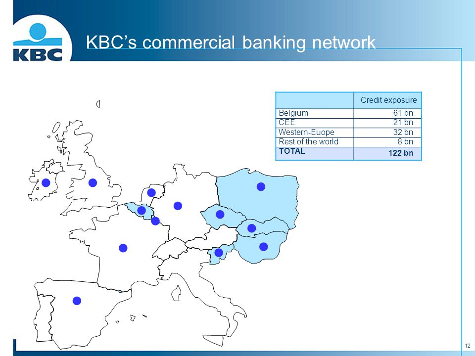 12 KBC's commercial banking network Credit exposure Belgium 61 bn CEE 21 bn Western-Euope 32 bn Rest of the world 8 bn TOTAL 122 bn