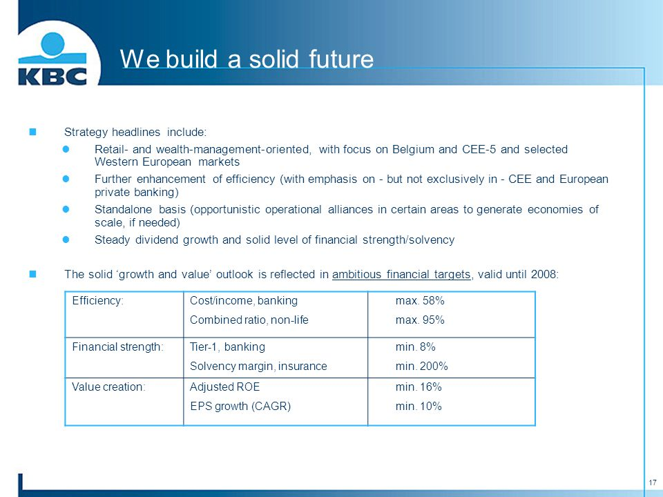 17 We build a solid future Strategy headlines include: Retail- and wealth-management-oriented, with focus on Belgium and CEE-5 and selected Western European markets Further enhancement of efficiency (with emphasis on - but not exclusively in - CEE and European private banking) Standalone basis (opportunistic operational alliances in certain areas to generate economies of scale, if needed) Steady dividend growth and solid level of financial strength/solvency The solid 'growth and value' outlook is reflected in ambitious financial targets, valid until 2008: Efficiency:Cost/income, banking Combined ratio, non-life max.