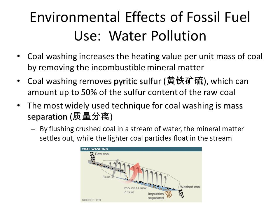 Environmental Effects of Fossil Fuel Use: Water Pollution Coal washing increases the heating value per unit mass of coal by removing the incombustible mineral matter pyritic sulfur Coal washing removes pyritic sulfur ( 黄铁矿硫 ), which can amount up to 50% of the sulfur content of the raw coal mass separation The most widely used technique for coal washing is mass separation ( 质量分离 ) – By flushing crushed coal in a stream of water, the mineral matter settles out, while the lighter coal particles float in the stream