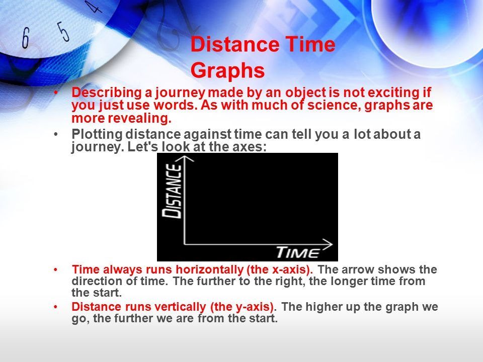 Distance Time Graphs Describing a journey made by an object is not exciting if you just use words.