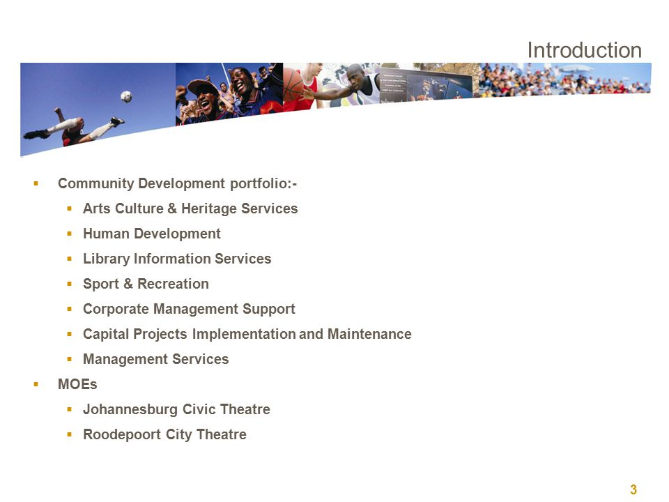 3 Introduction  Community Development portfolio:-  Arts Culture & Heritage Services  Human Development  Library Information Services  Sport & Recreation  Corporate Management Support  Capital Projects Implementation and Maintenance  Management Services  MOEs  Johannesburg Civic Theatre  Roodepoort City Theatre